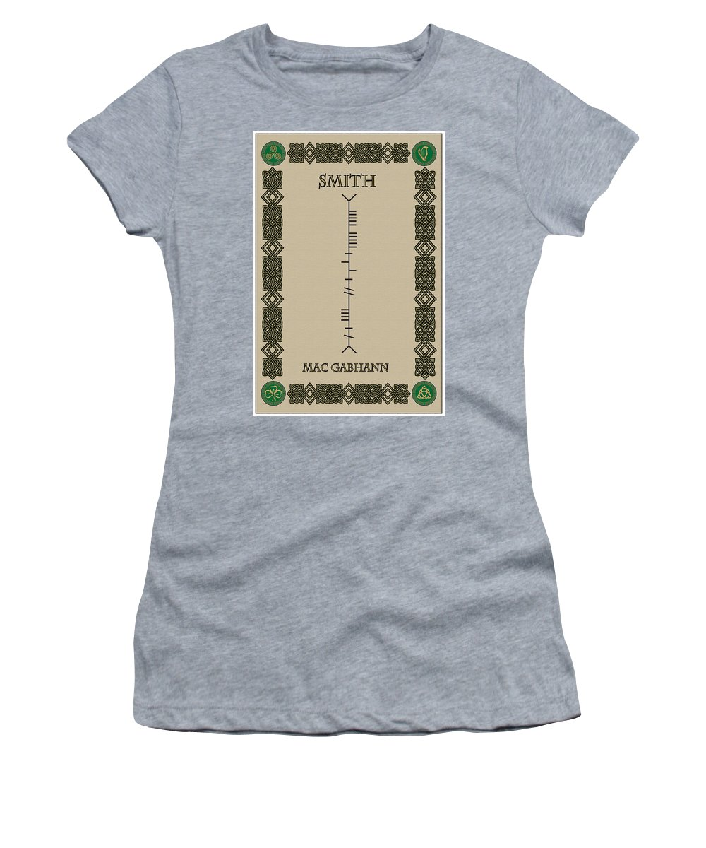Smith Women's T-Shirt featuring the digital art Smith Written In Ogham by Ireland Calling