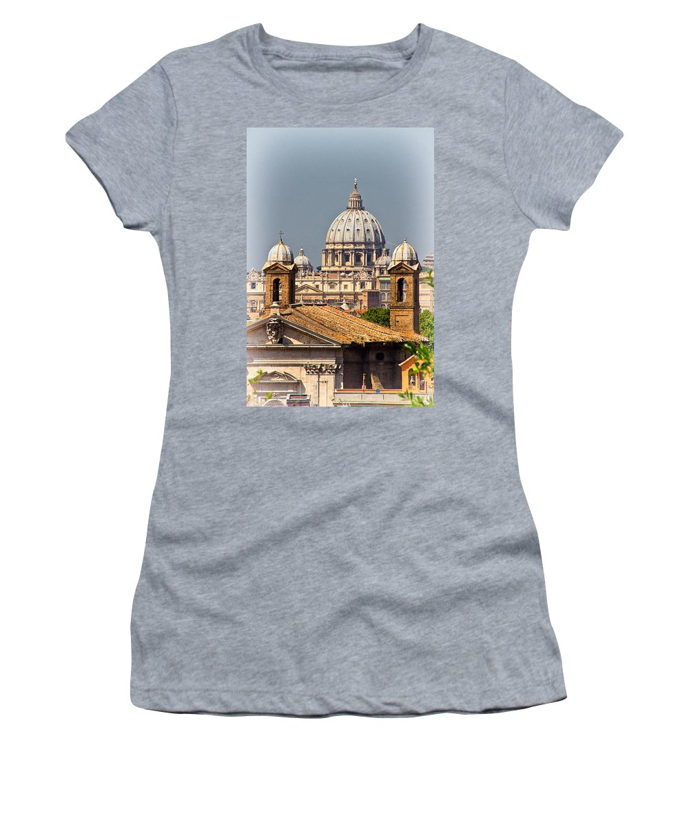 St Peters Women's T-Shirt (Athletic Fit) featuring the photograph St Peters Basilica by David Pringle