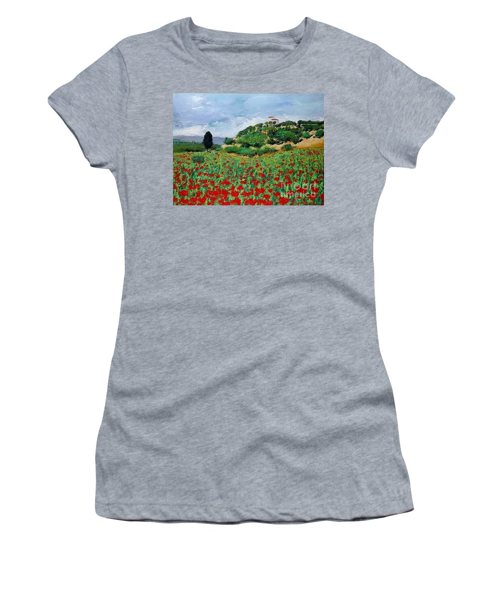 Landscape Women's T-Shirt featuring the painting Tuscan Poppies by Allan P Friedlander