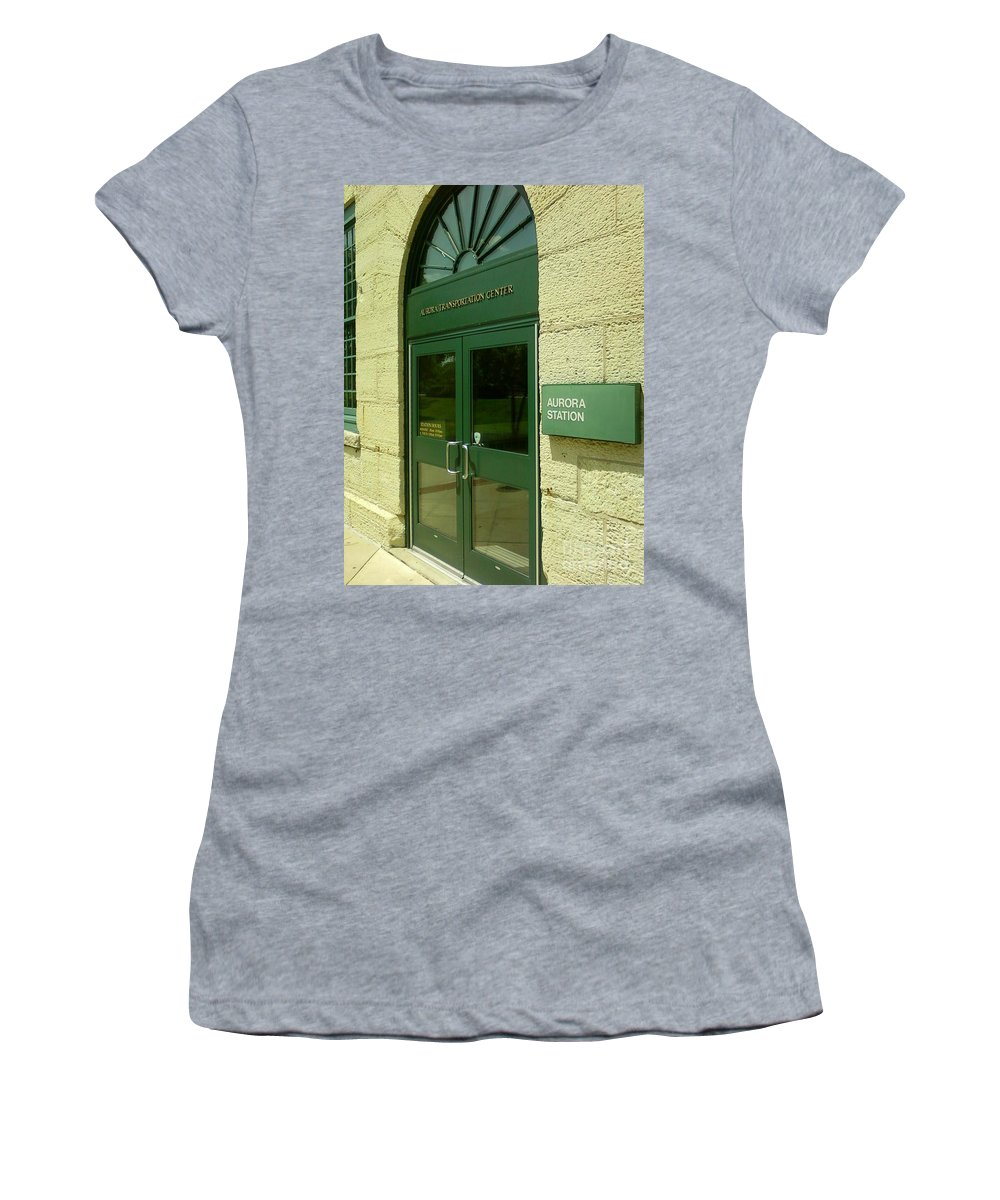 Aurora Transportation Center Women's T-Shirt featuring the photograph Aurora Transportation Center by Alfie Martin