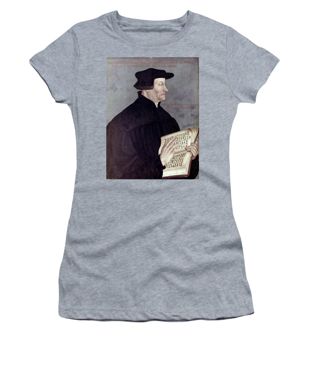 16th Century Women's T-Shirt (Athletic Fit) featuring the painting Huldreich Zwingli (1484-1531) by Granger