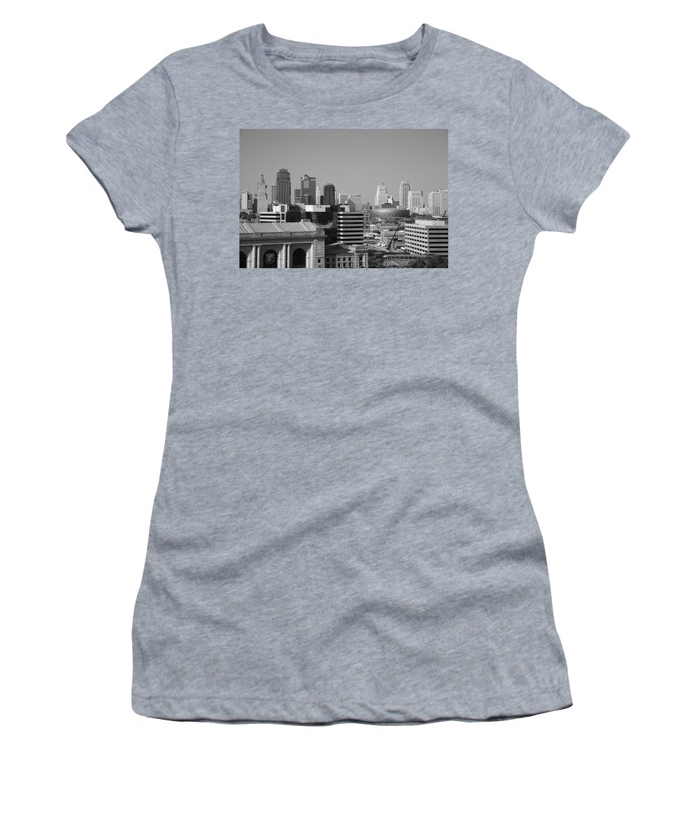 America Women's T-Shirt (Athletic Fit) featuring the photograph Kansas City Skyline by Frank Romeo