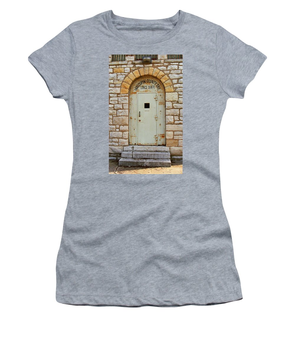 66 Women's T-Shirt (Athletic Fit) featuring the photograph Route 66 - Macoupin County Jail by Frank Romeo