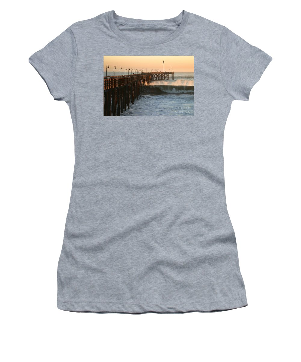 Storm Women's T-Shirt (Athletic Fit) featuring the photograph Ocean Wave Storm Pier by Henrik Lehnerer