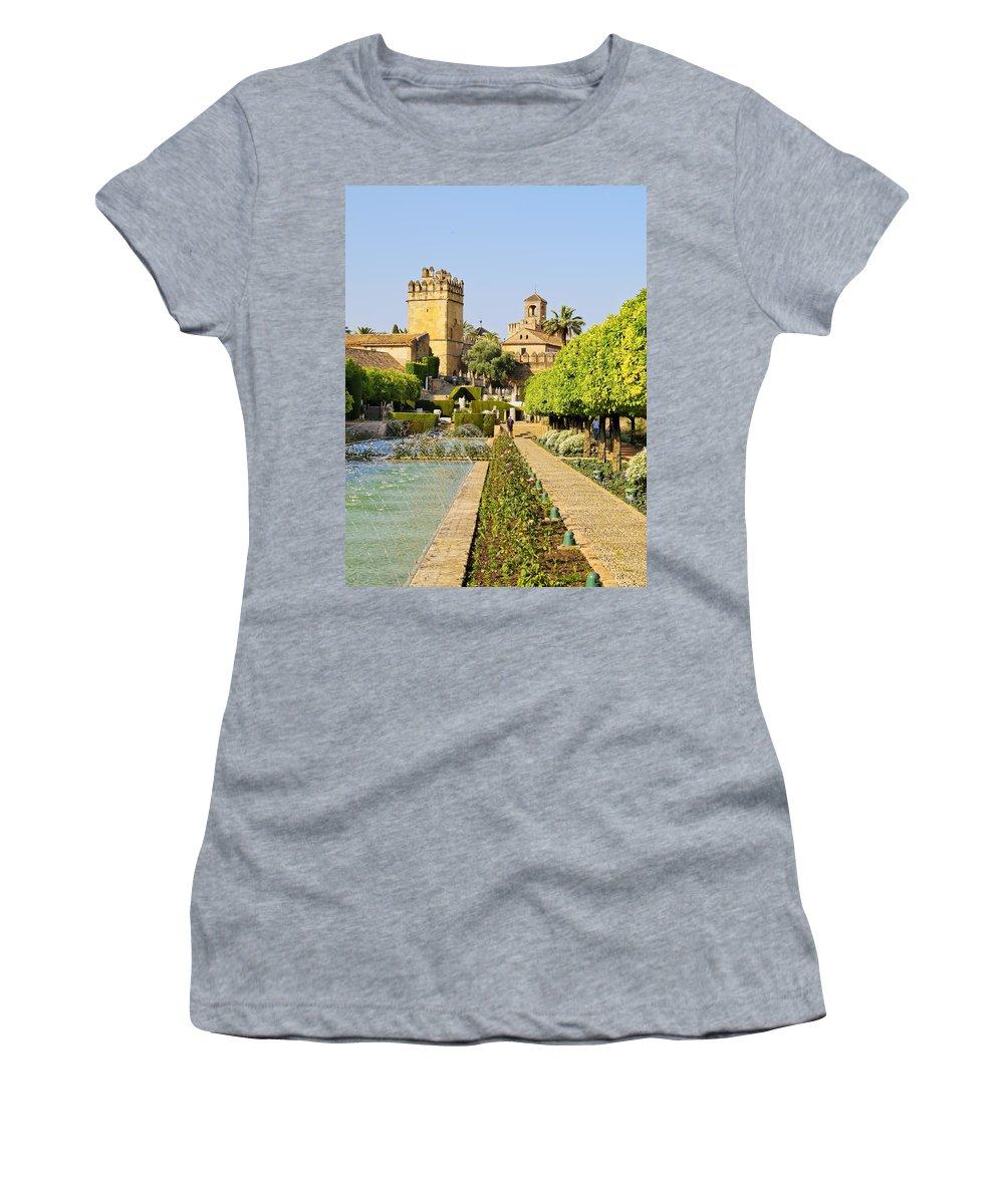 Cordoba Women's T-Shirt featuring the photograph Alcazar In Cordoba by Karol Kozlowski