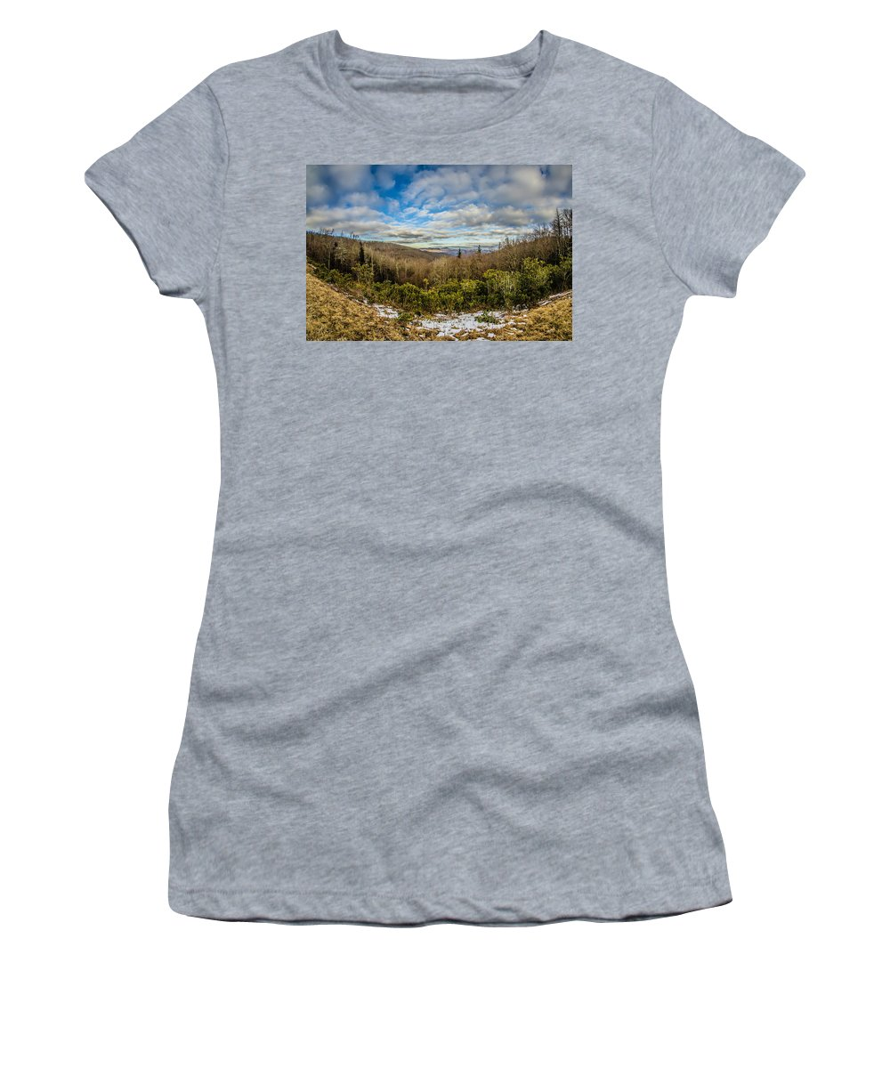 Road Women's T-Shirt (Athletic Fit) featuring the photograph Blue Ridge Parkway Winter Scenes In February by Alex Grichenko