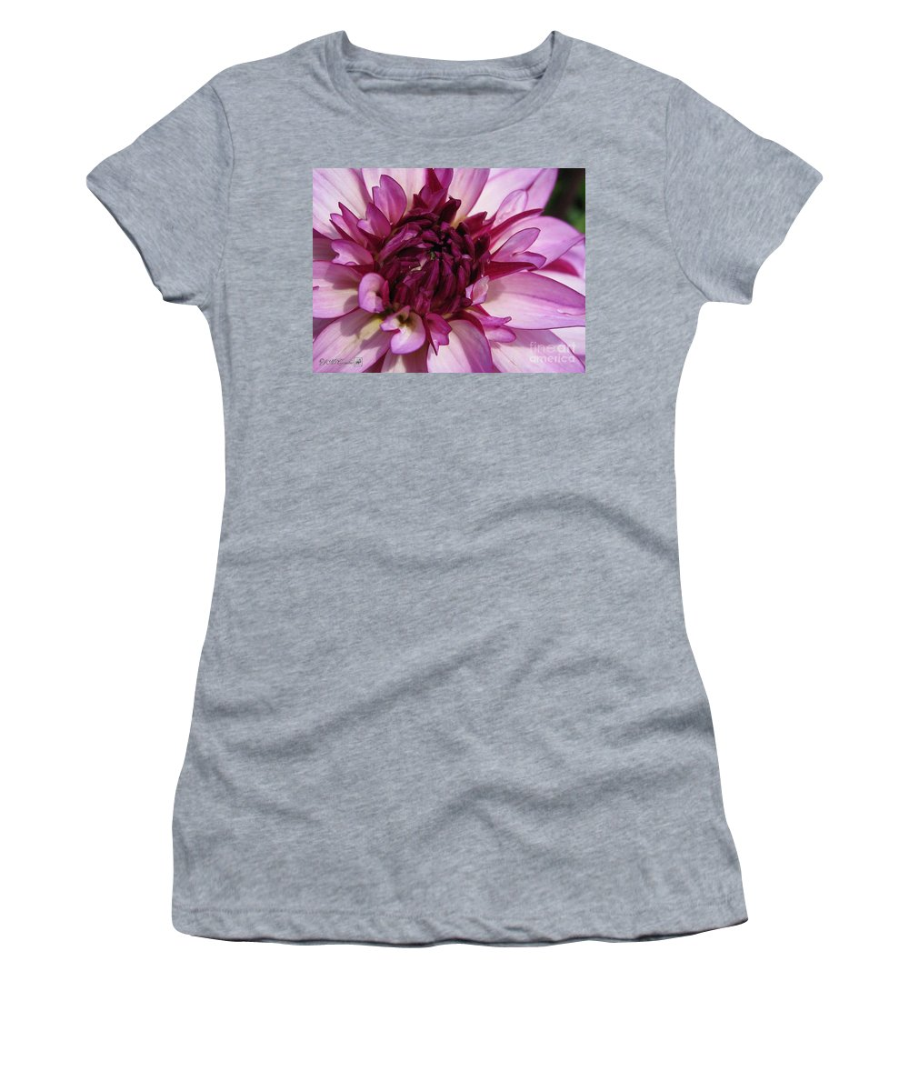 Dahlia Women's T-Shirt (Athletic Fit) featuring the painting Dahlia Named Lauren Michelle by J McCombie
