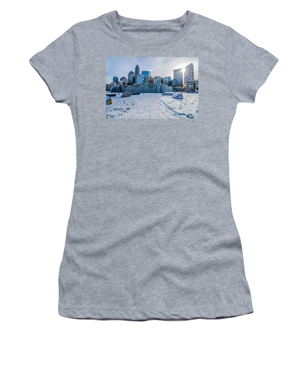 Rare Women's T-Shirt (Athletic Fit) featuring the photograph Rare Winter Scenery Around Charlotte North Carolina by Alex Grichenko