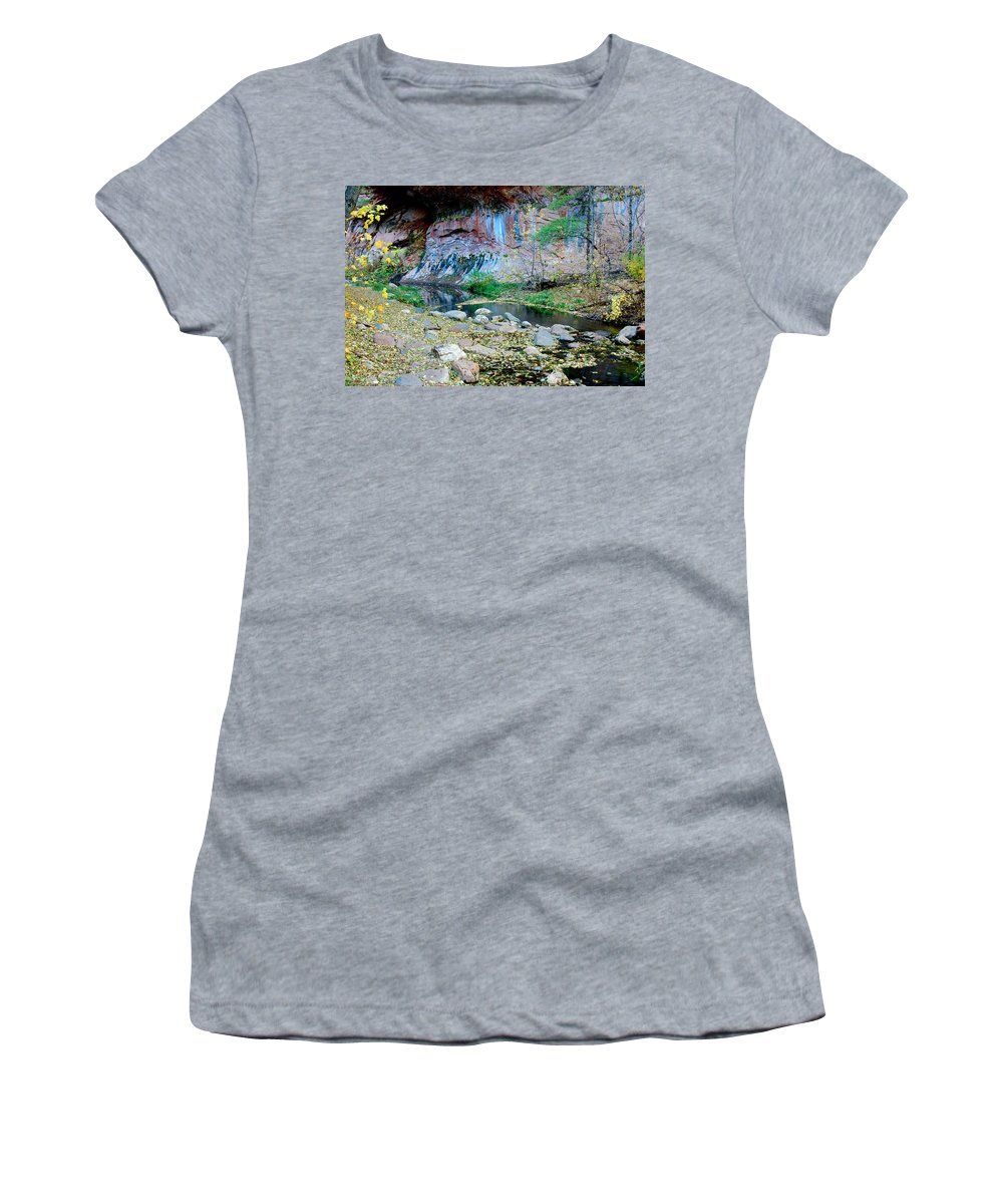 Wesg_fork Women's T-Shirt featuring the photograph West Fork Oak Creek by Tam Ryan
