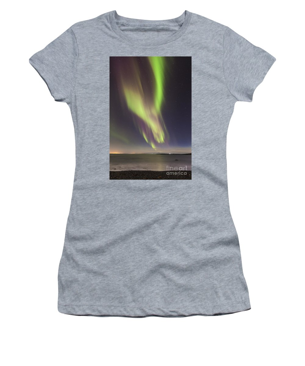 Northern Women's T-Shirt featuring the photograph Northern Lights Iceland by Gunnar Orn Arnason