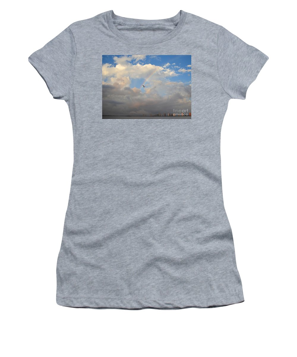 Rainbow Women's T-Shirt featuring the photograph 6- Rainbow And Seagull by Joseph Keane