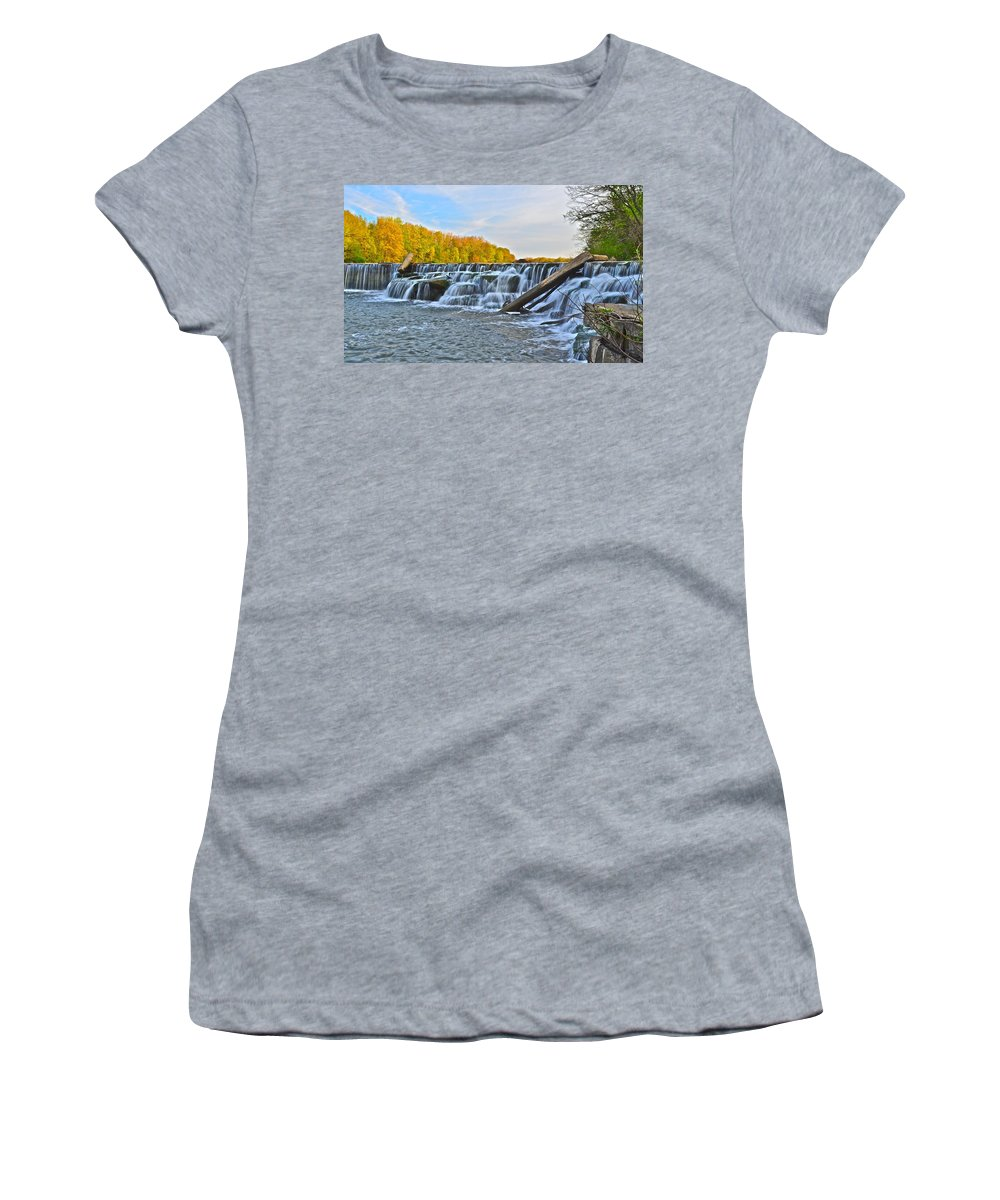 Berea Women's T-Shirt (Athletic Fit) featuring the photograph Berea Falls by Frozen in Time Fine Art Photography