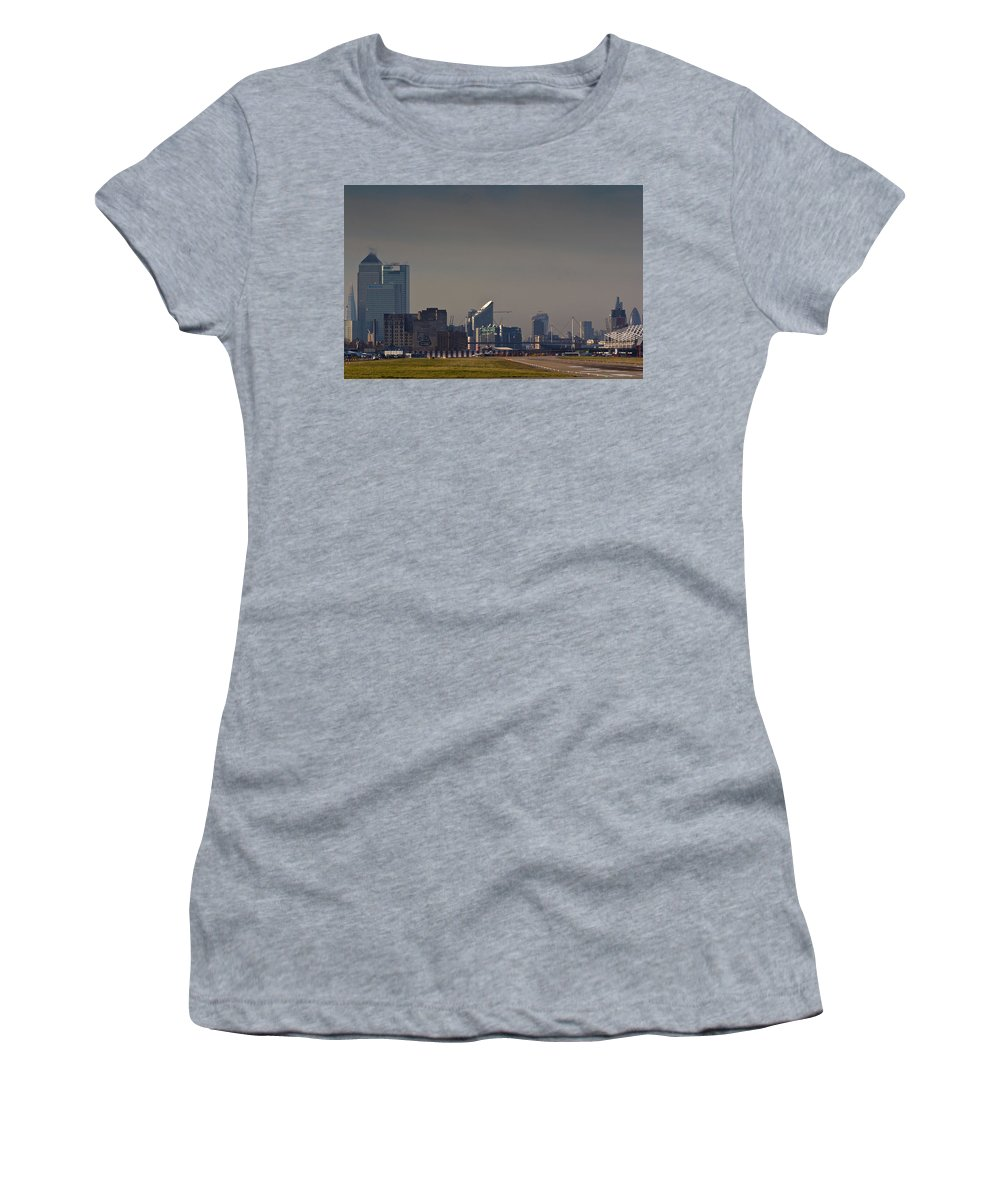 London Women's T-Shirt (Athletic Fit) featuring the photograph London City Airport by David Pyatt
