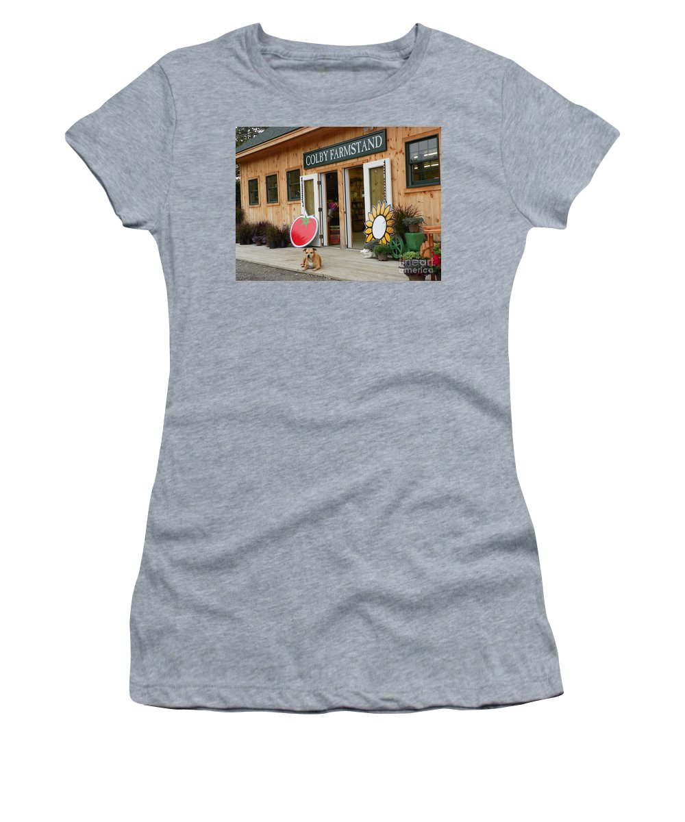 #923 D720 Colby Farm 2012.jpg Women's T-Shirt (Athletic Fit) featuring the photograph #923 D720 Colby Farm Stand by Robin Lee Mccarthy Photography