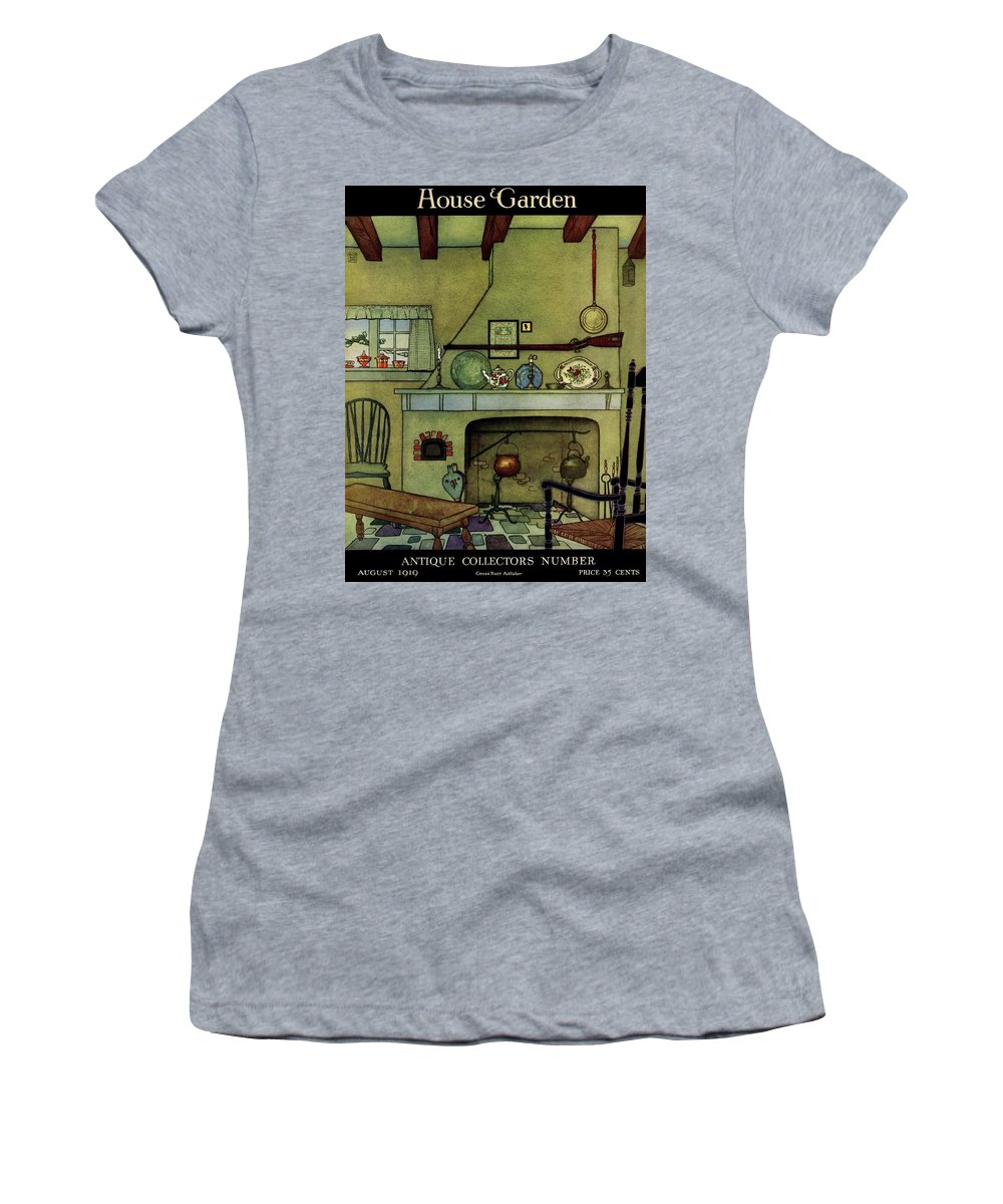 House And Garden Women's T-Shirt featuring the photograph A 1920's Idea Of A Colonial Kitchen by Harry Richardson