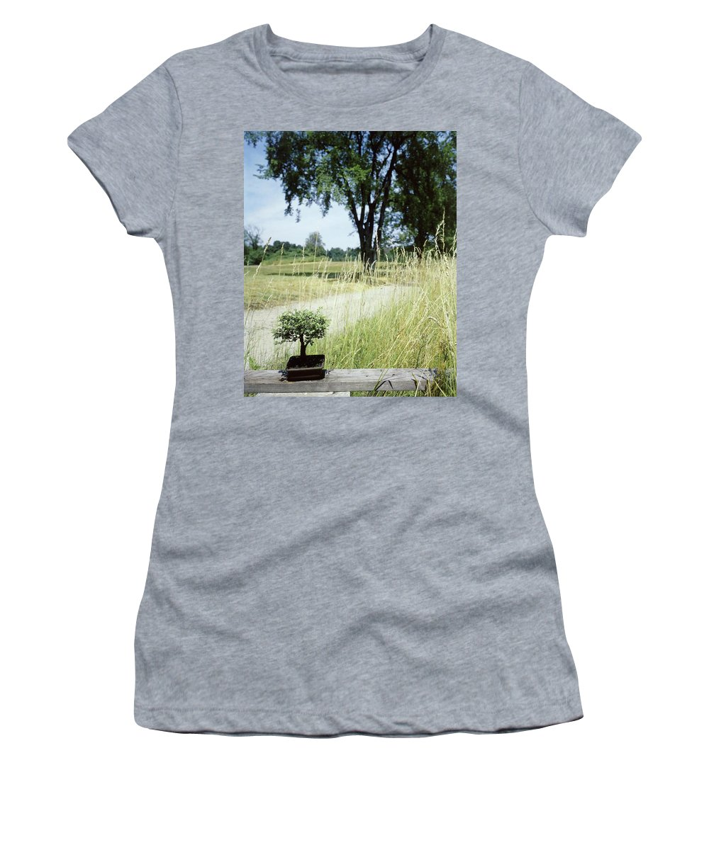 Plants Women's T-Shirt featuring the photograph A Bonsai Tree In A Hayfield by Pedro E. Guerrero