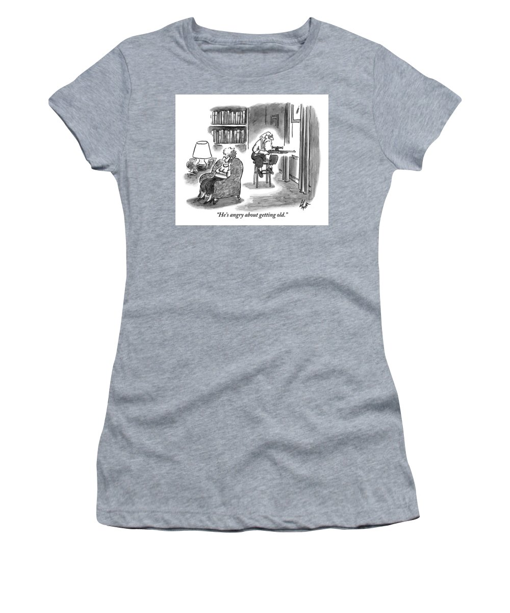 Angry Women's T-Shirt featuring the drawing A Crabby-looking by Frank Cotham