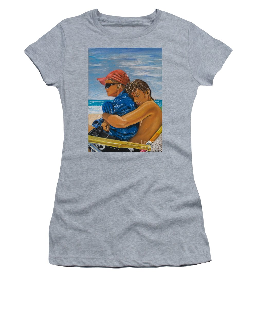 Beach Women's T-Shirt (Athletic Fit) featuring the pastel A Day On The Beach by Katharina Filus