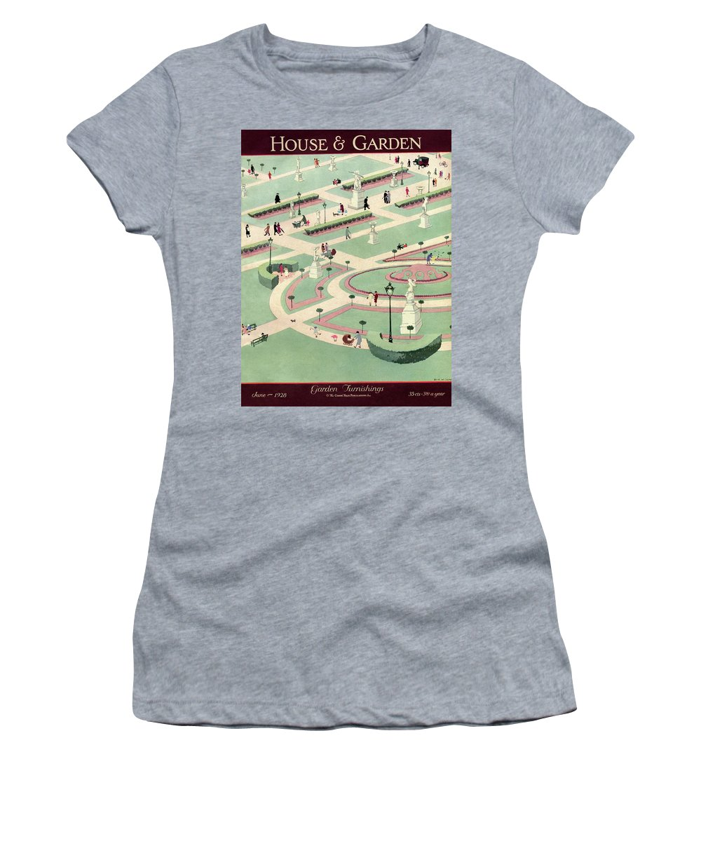 House And Garden Women's T-Shirt featuring the photograph A Formally Designed Park by Marion Wildman