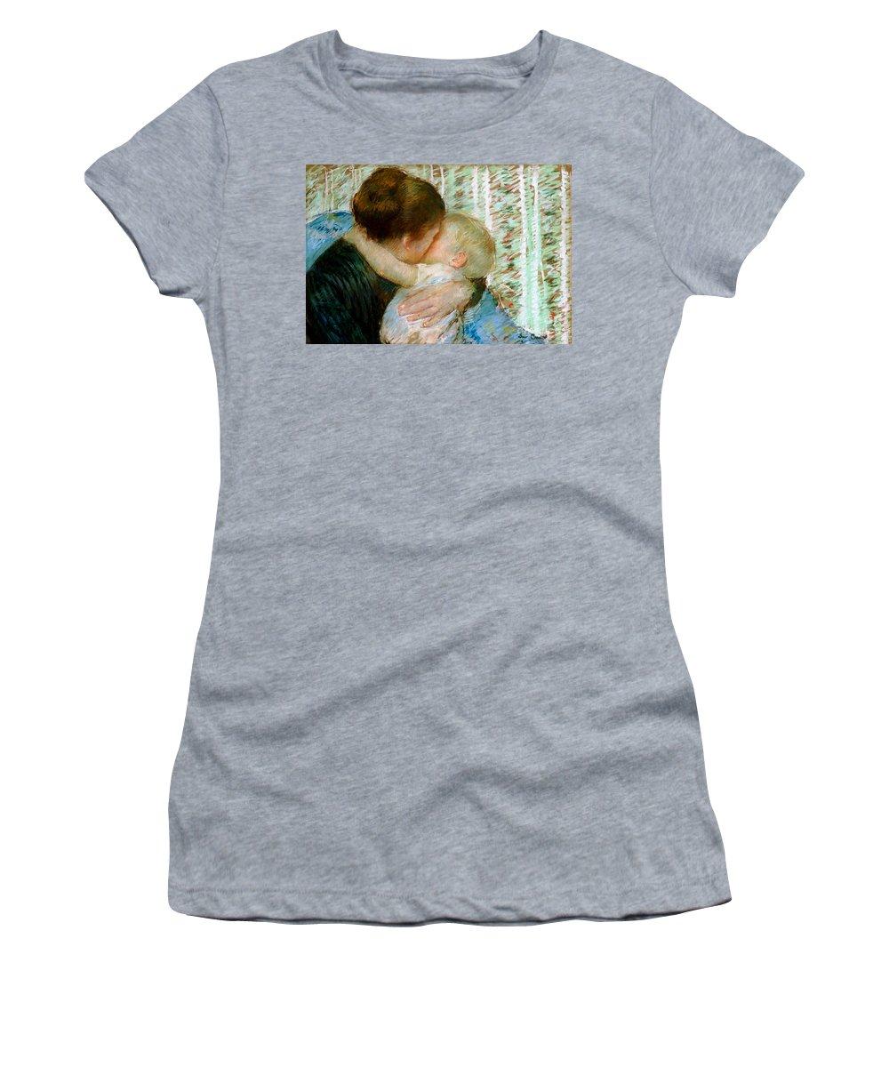 Mary Women's T-Shirt featuring the painting A Goodnight Hug by Mary Stevenson Cassatt