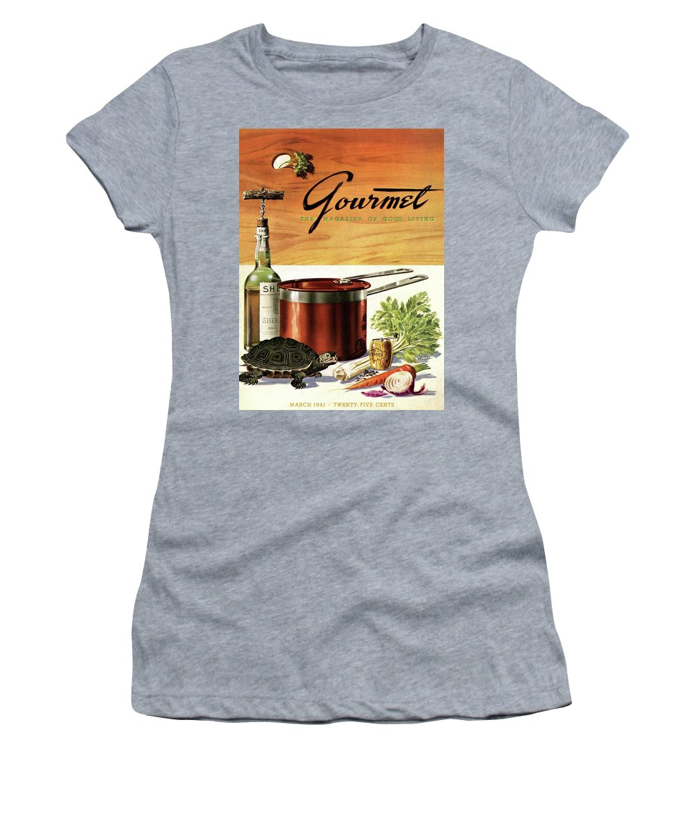 Illustration Women's T-Shirt featuring the photograph A Gourmet Cover Of Turtle Soup Ingredients by Henry Stahlhut