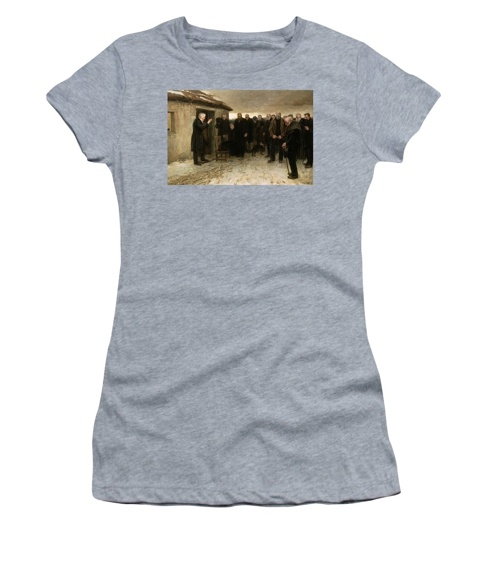 A Highland Funeral Women's T-Shirt (Athletic Fit) featuring the painting A Highland Funeral by Sir James Guthrie