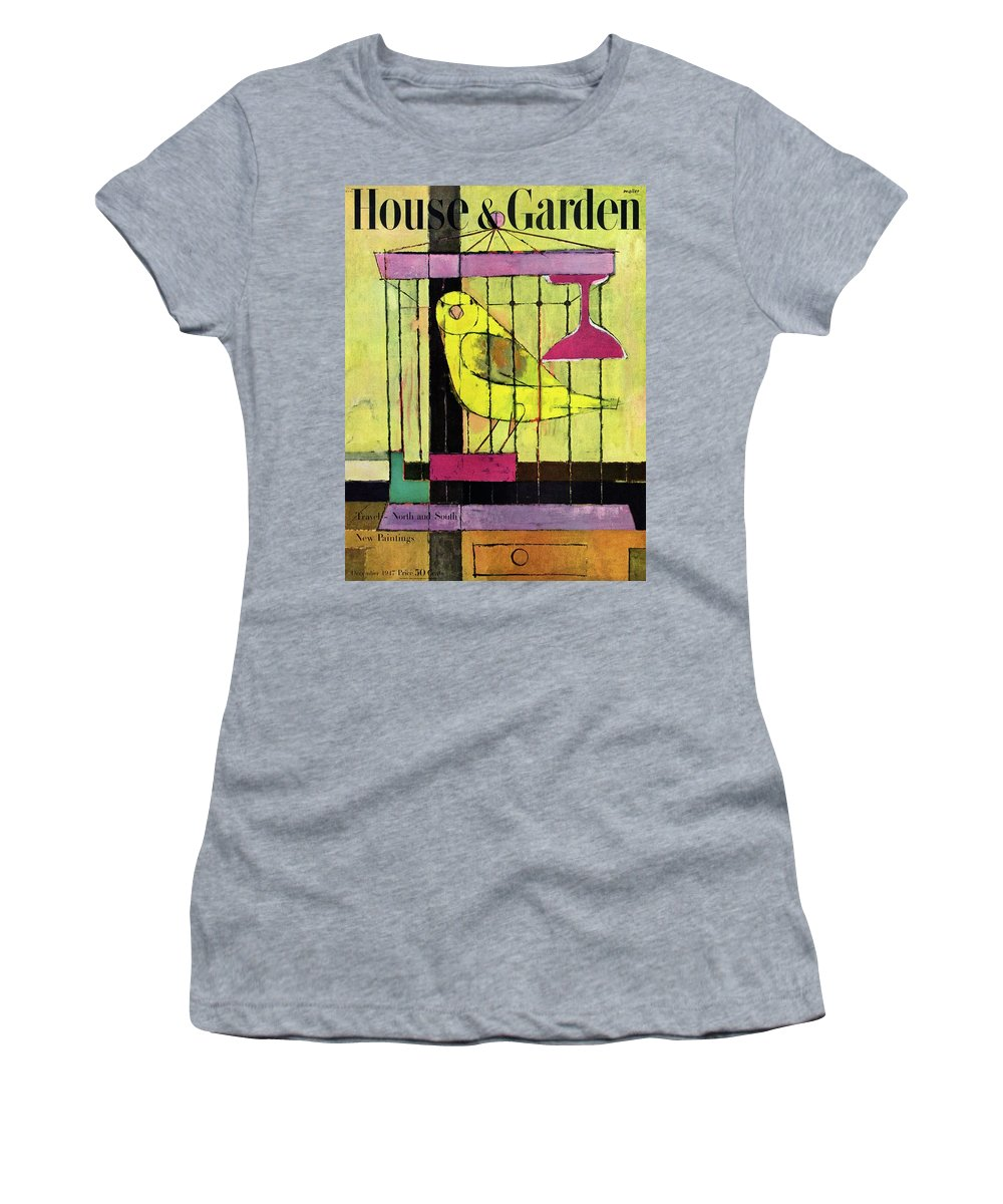 Illustration Women's T-Shirt featuring the photograph A House And Garden Cover Of A Bird In A Cage by Hans Moller