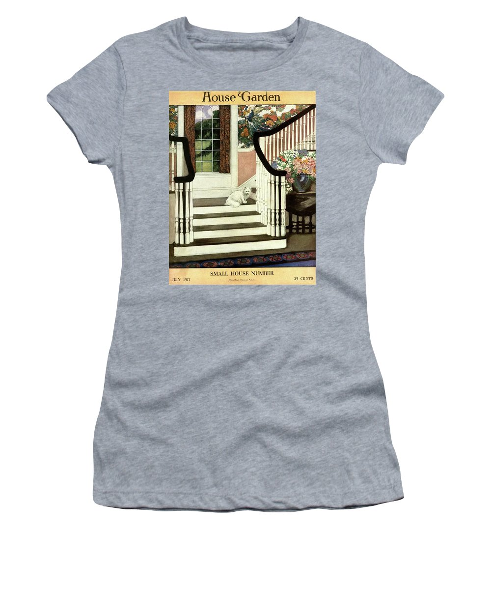 Animal Women's T-Shirt featuring the photograph A House And Garden Cover Of A Cat On A Staircase by Ethel Franklin Betts Baines