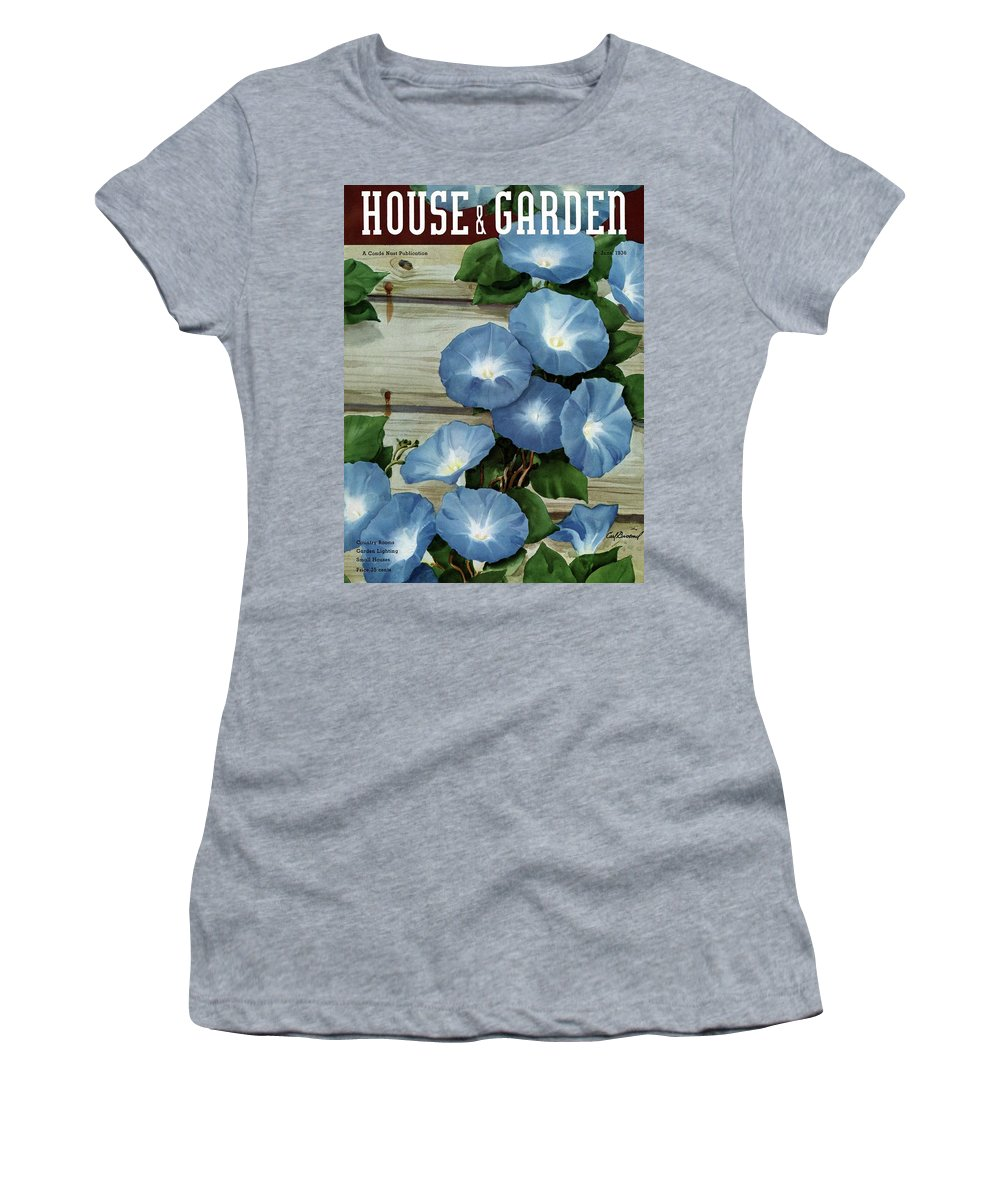 Illustration Women's T-Shirt featuring the photograph A House And Garden Cover Of Flowers by Carl Broemel