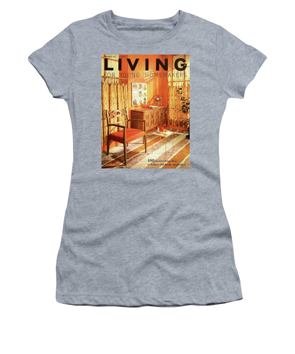 Furniture Women's T-Shirt featuring the digital art A Living Room With Furniture By Mt Airy Chair by F. M. Demarest
