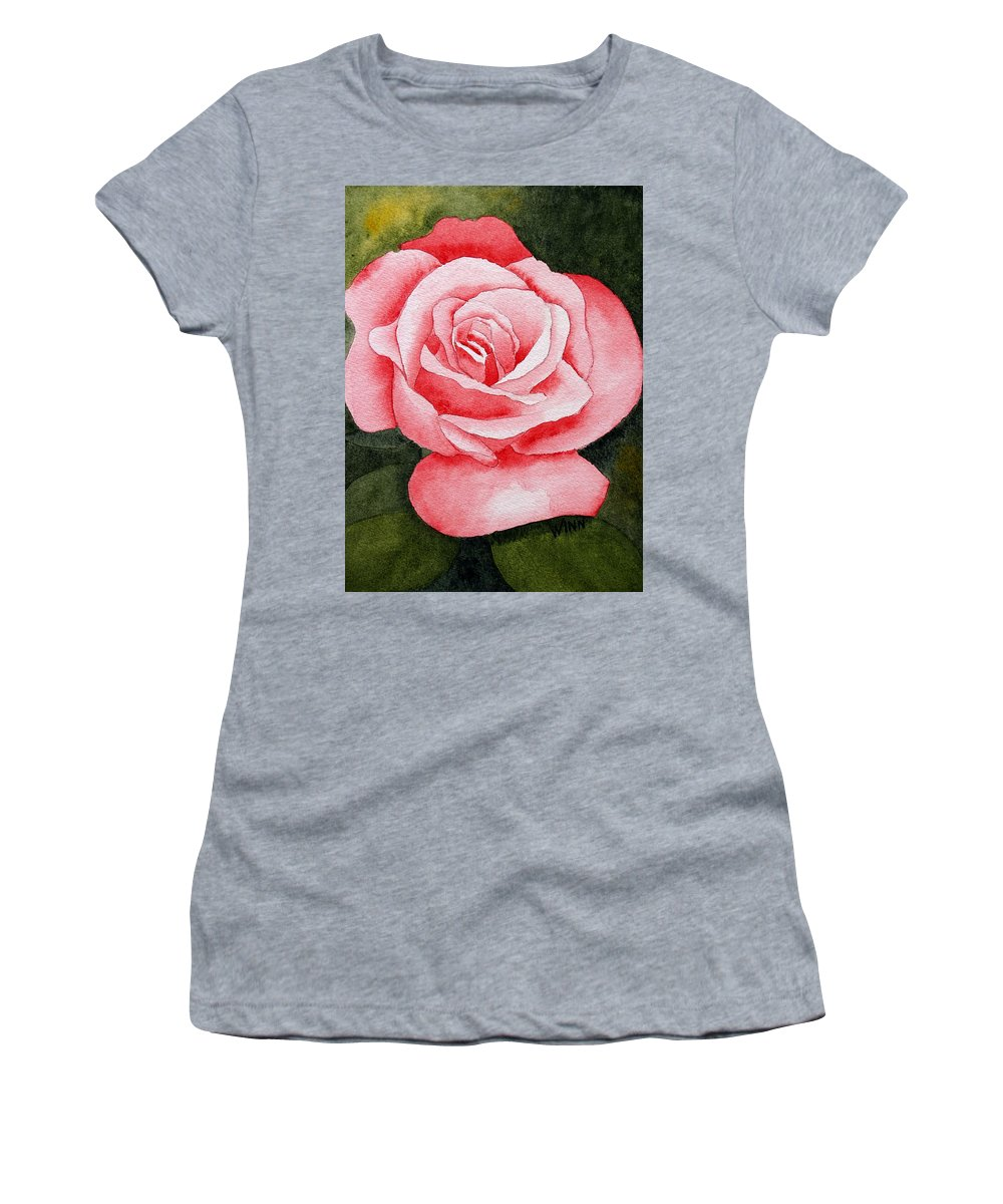 Watercolor Women's T-Shirt (Athletic Fit) featuring the painting A Rose By Any Other Name by Brett Winn