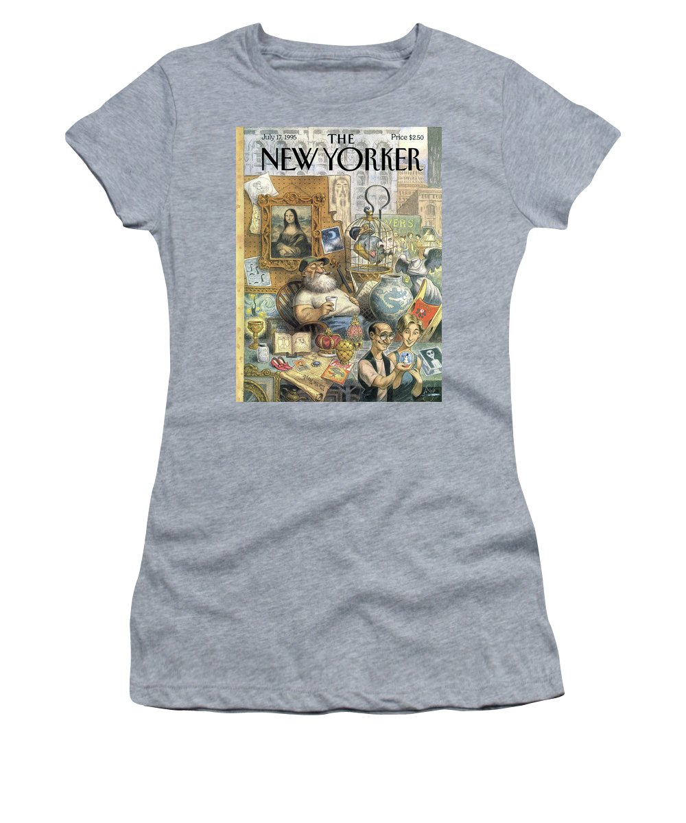 Treasure Women's T-Shirt featuring the painting A Shopkeeper Sells Odd Items by Peter de Seve