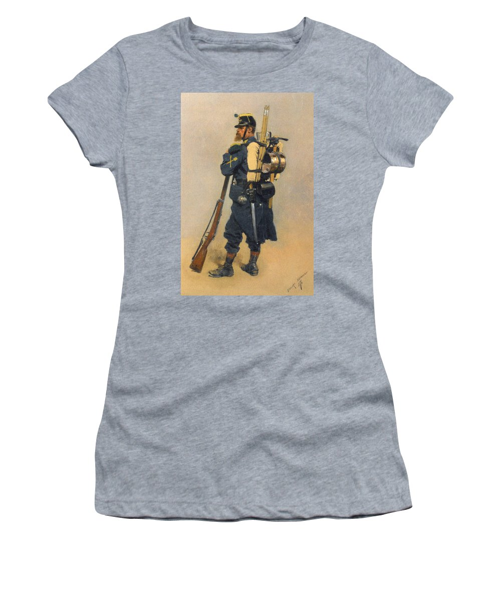A Soldier Linfanterie Women's T-Shirt featuring the digital art A Soldier IInfanterie by Jean Baptiste Detaille