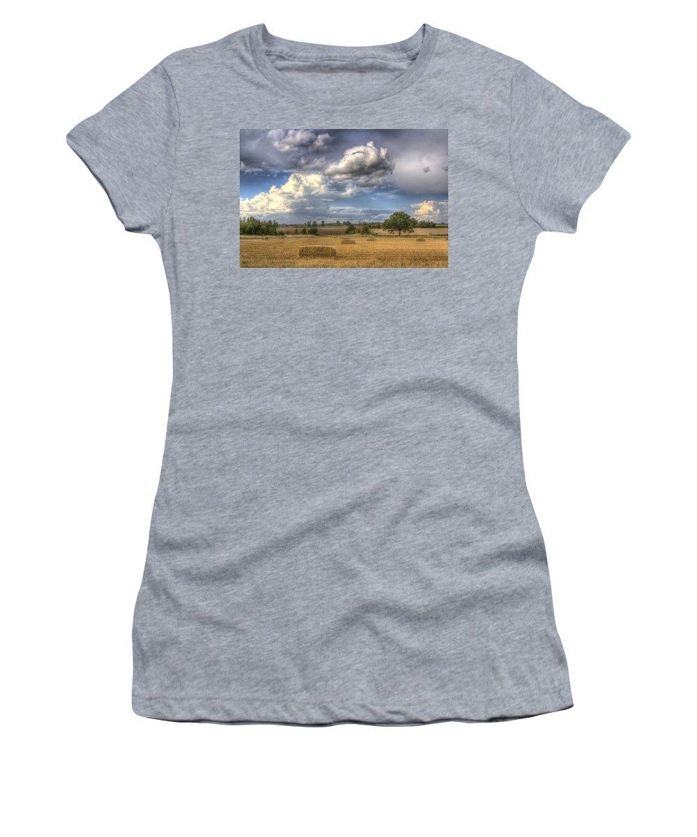 Farm Women's T-Shirt featuring the photograph A Summers Evening Farm by David Pyatt