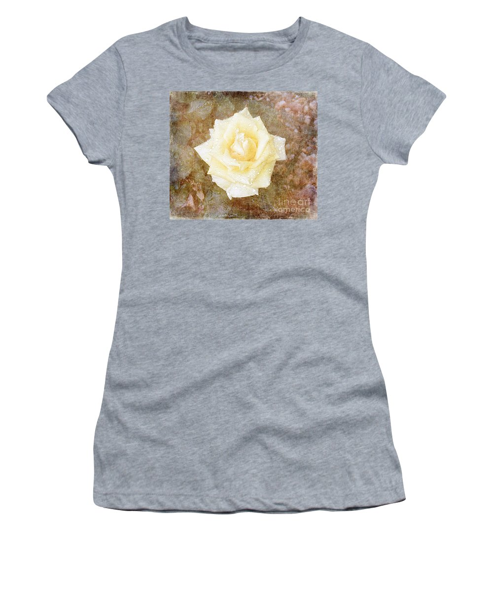 Roses Prints Women's T-Shirt (Athletic Fit) featuring the photograph A Textured Dawn by Alys Caviness-Gober