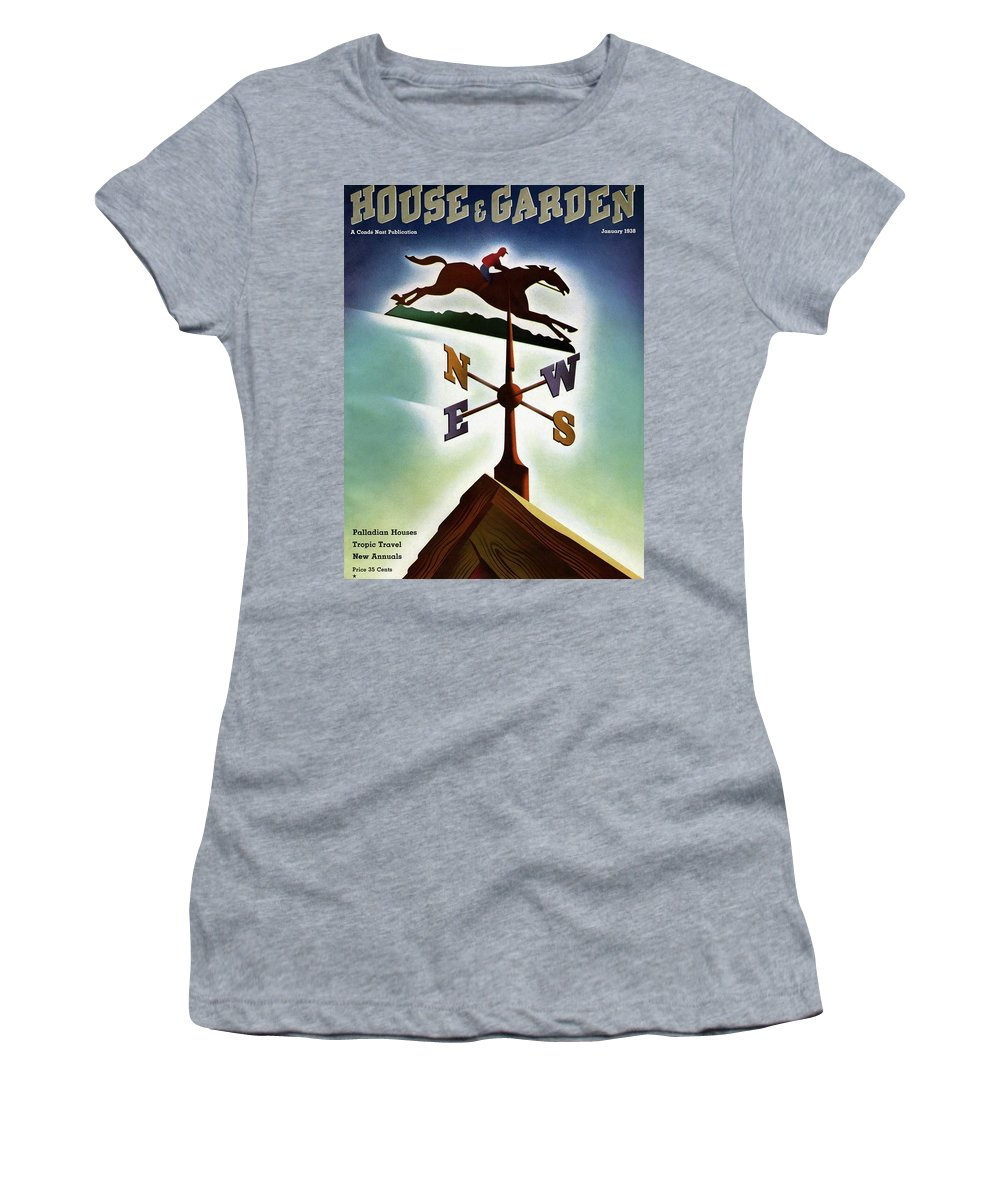 House And Garden Women's T-Shirt featuring the photograph A Weathervane With A Racehorse by Joseph Binder