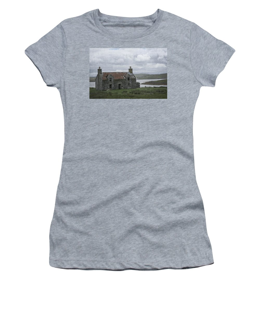 Abandoned Women's T-Shirt featuring the photograph Abandoned House On Lake Side by Jacqueline Moore