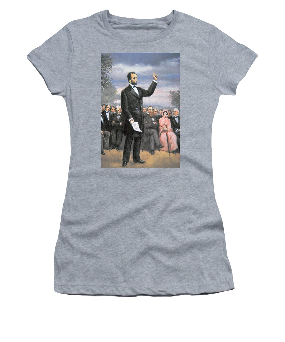 16th President Of The United States Women's T-Shirt featuring the painting Abraham Lincoln Delivering The Gettysburg Address by American School