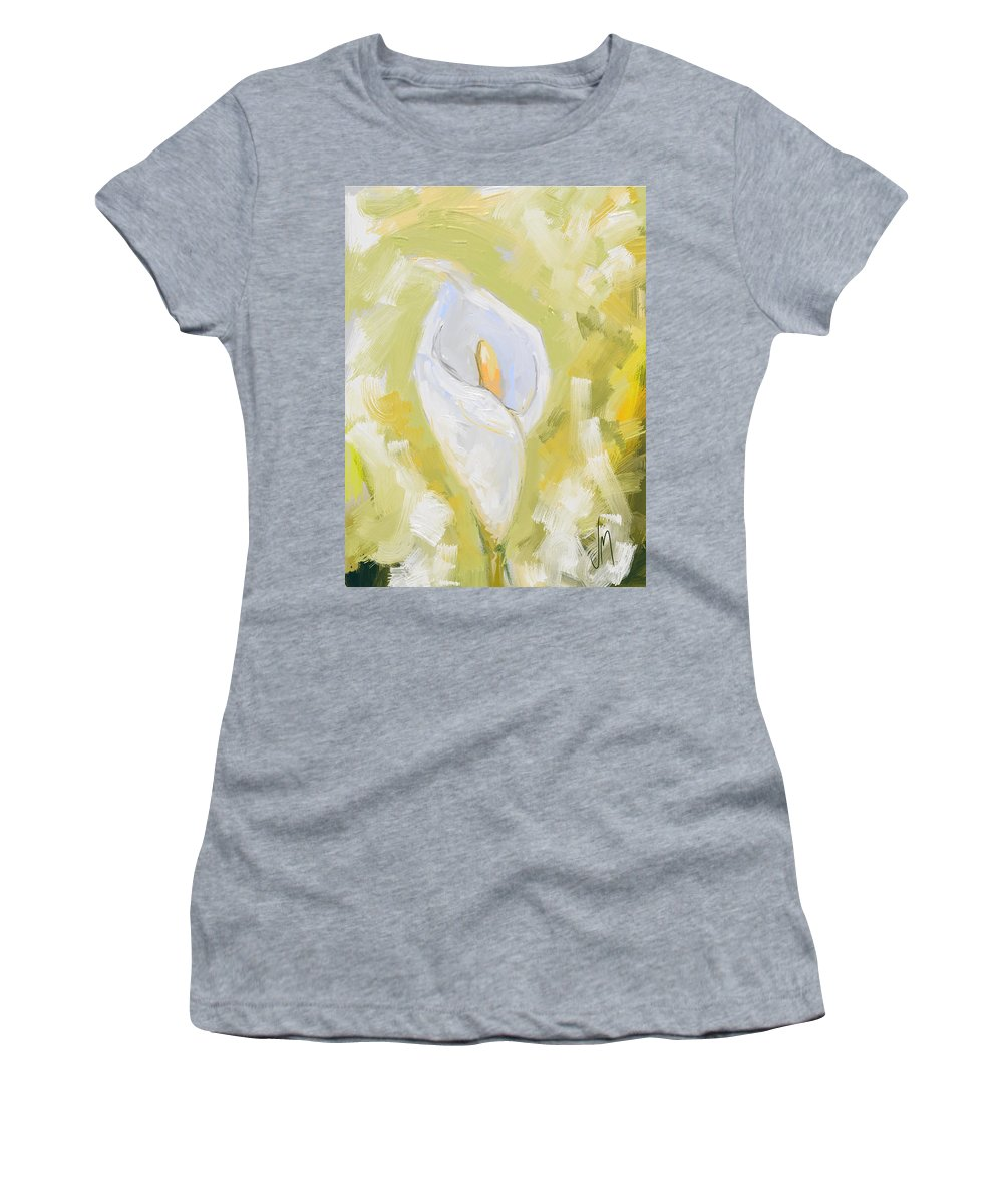 Calla Lily Women's T-Shirt (Athletic Fit) featuring the painting Abstract Calla Lily by Veronica Minozzi