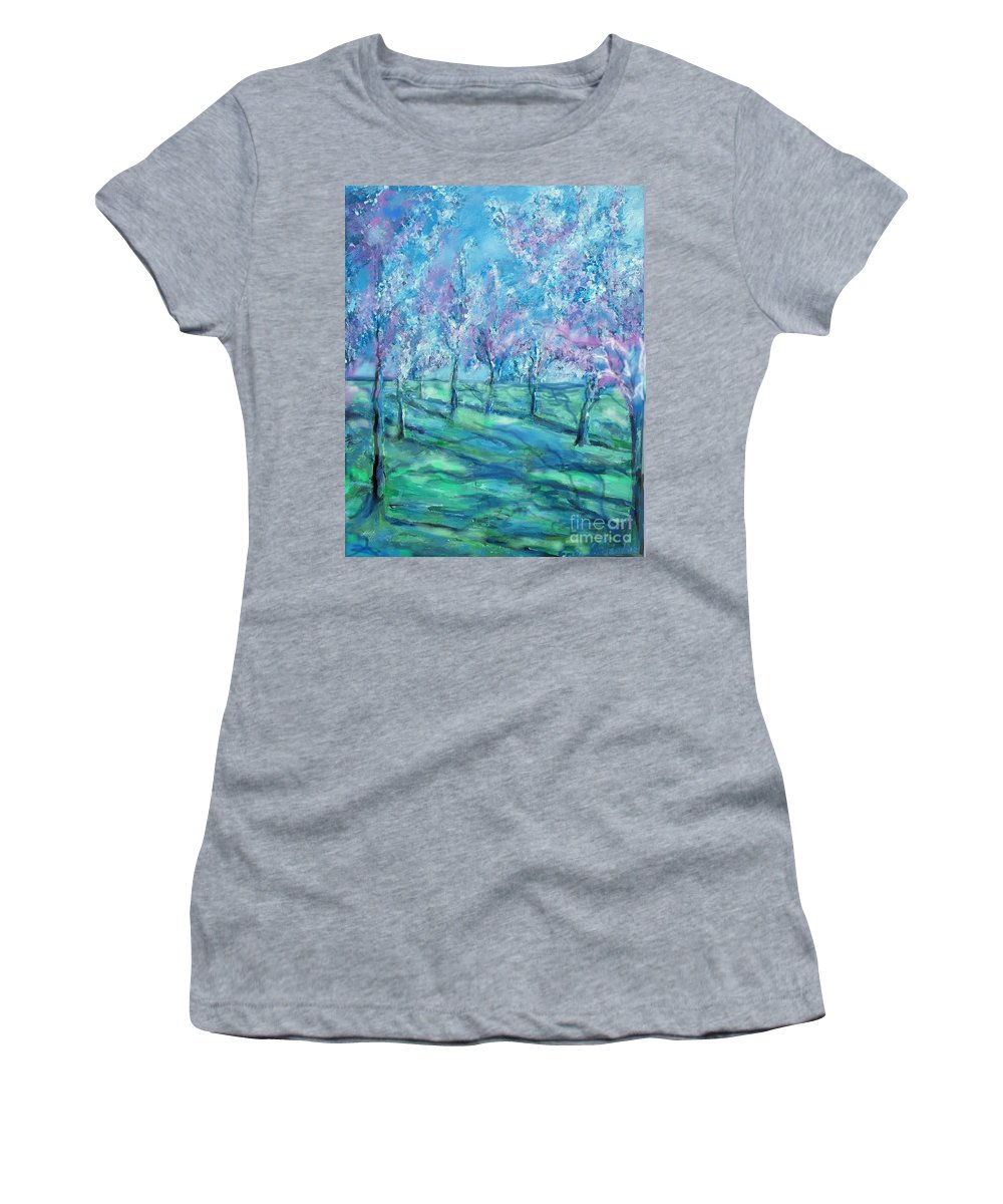 Abstracts Women's T-Shirt featuring the painting Abstract Cherry Trees by Eric Schiabor