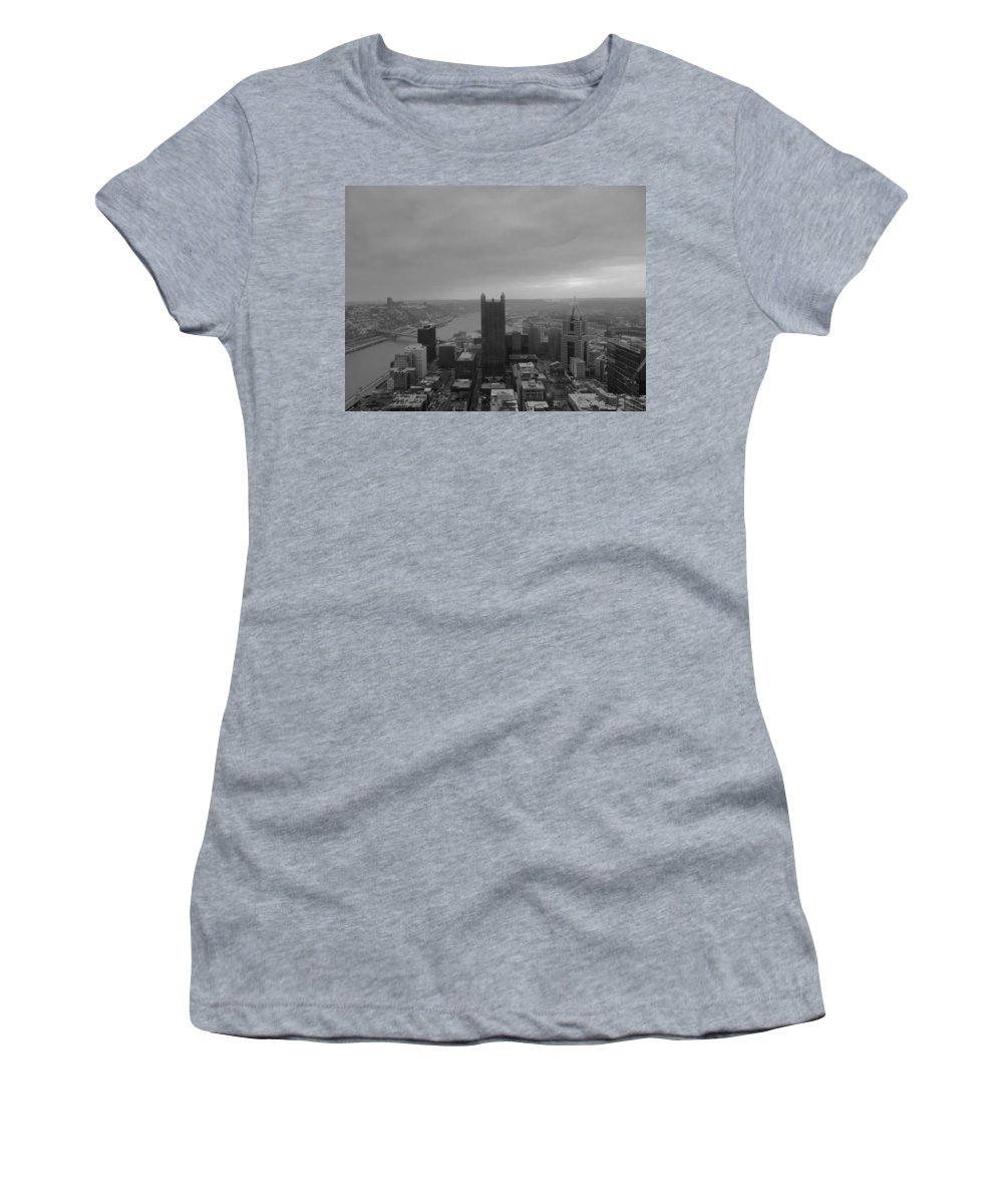 City Women's T-Shirt (Athletic Fit) featuring the photograph Aerial View Of Pittsburgh by Cityscape Photography