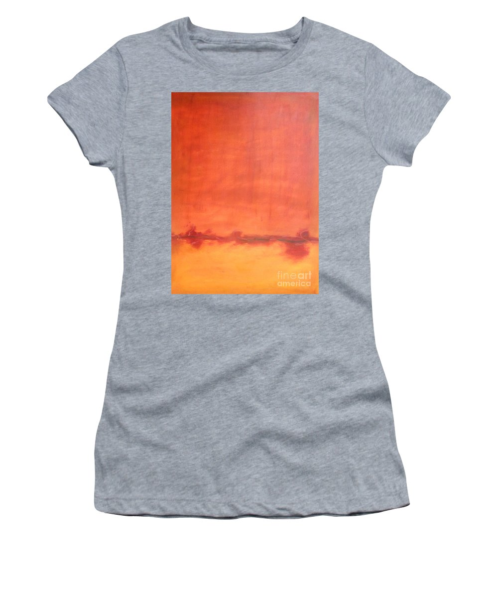 Orange Women's T-Shirt featuring the painting Afternoon Sun by Kitty Mecham