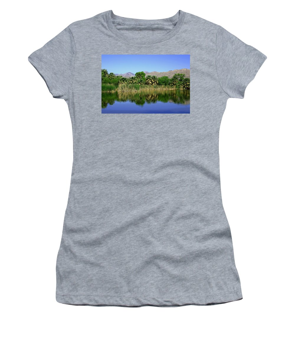 Oasis Women's T-Shirt (Athletic Fit) featuring the photograph Agua Caliente by Joe Kozlowski