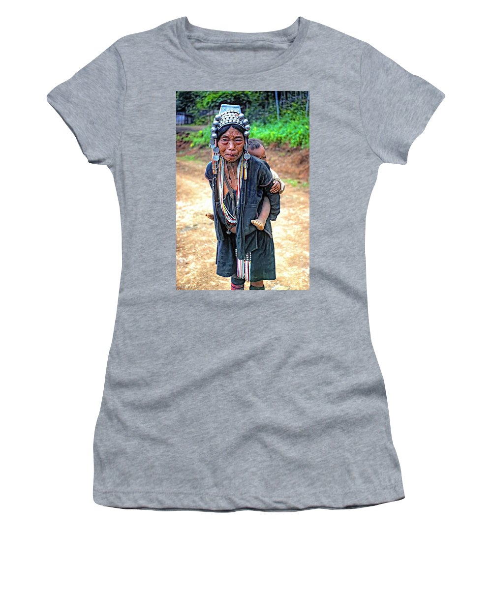 Hill Tribe Women's T-Shirt featuring the photograph Akha Tribe by Steve Harrington