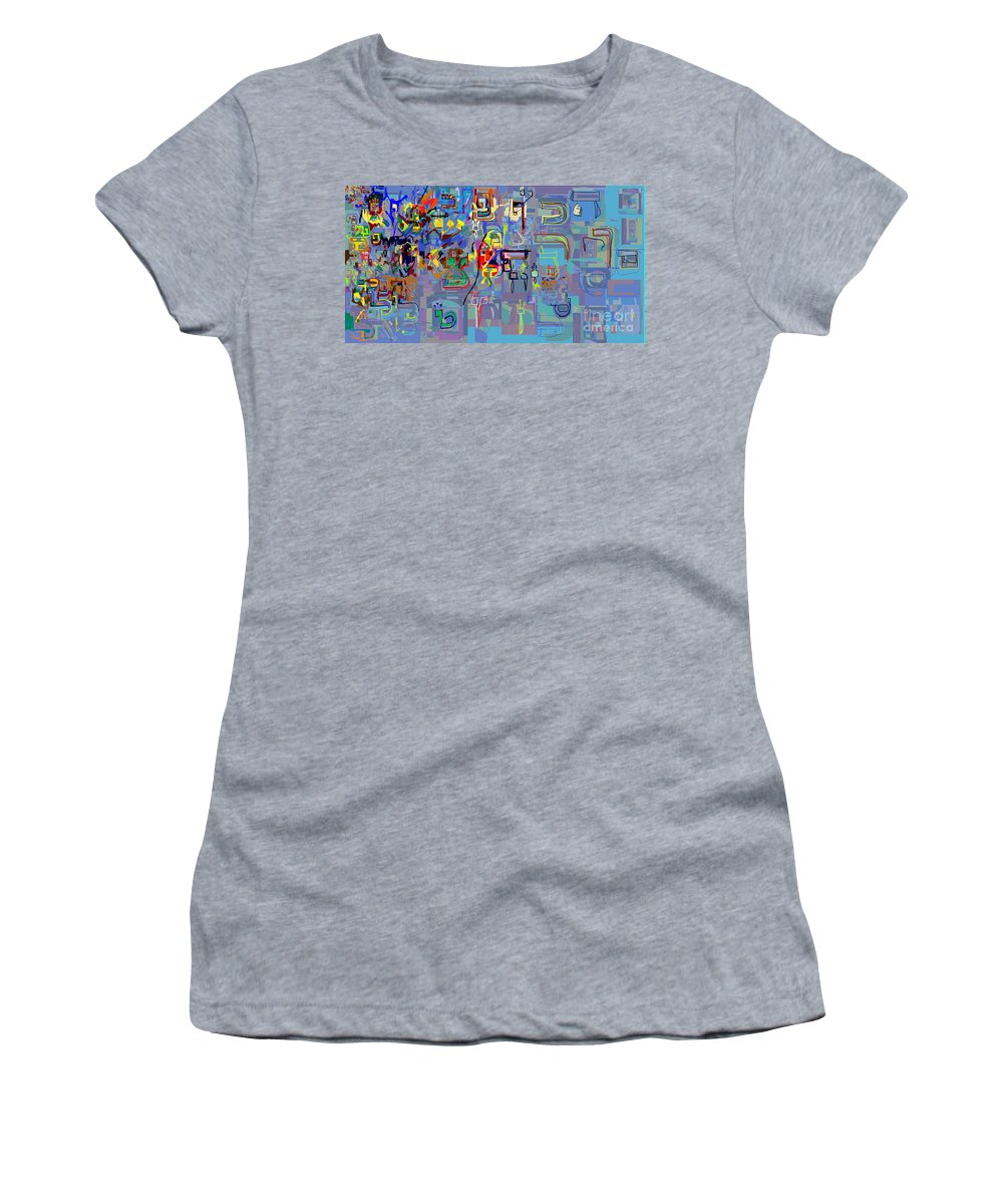 Women's T-Shirt (Athletic Fit) featuring the digital art Alef Bais 1k by David Baruch Wolk