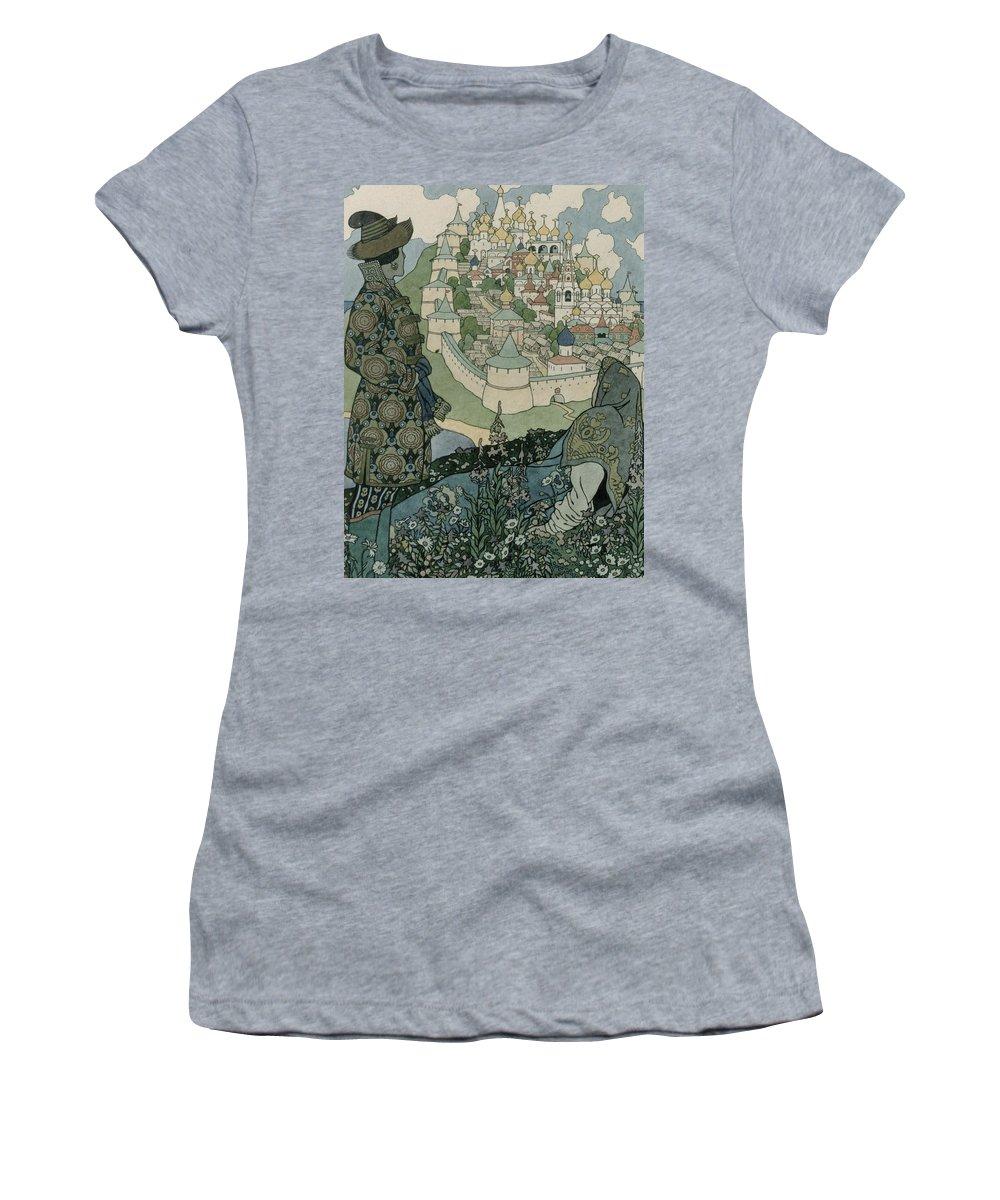 Pushkin Women's T-Shirt featuring the drawing Alexander Pushkin's Fairytale Of The Tsar Saltan by Ivan Jakovlevich Bilibin
