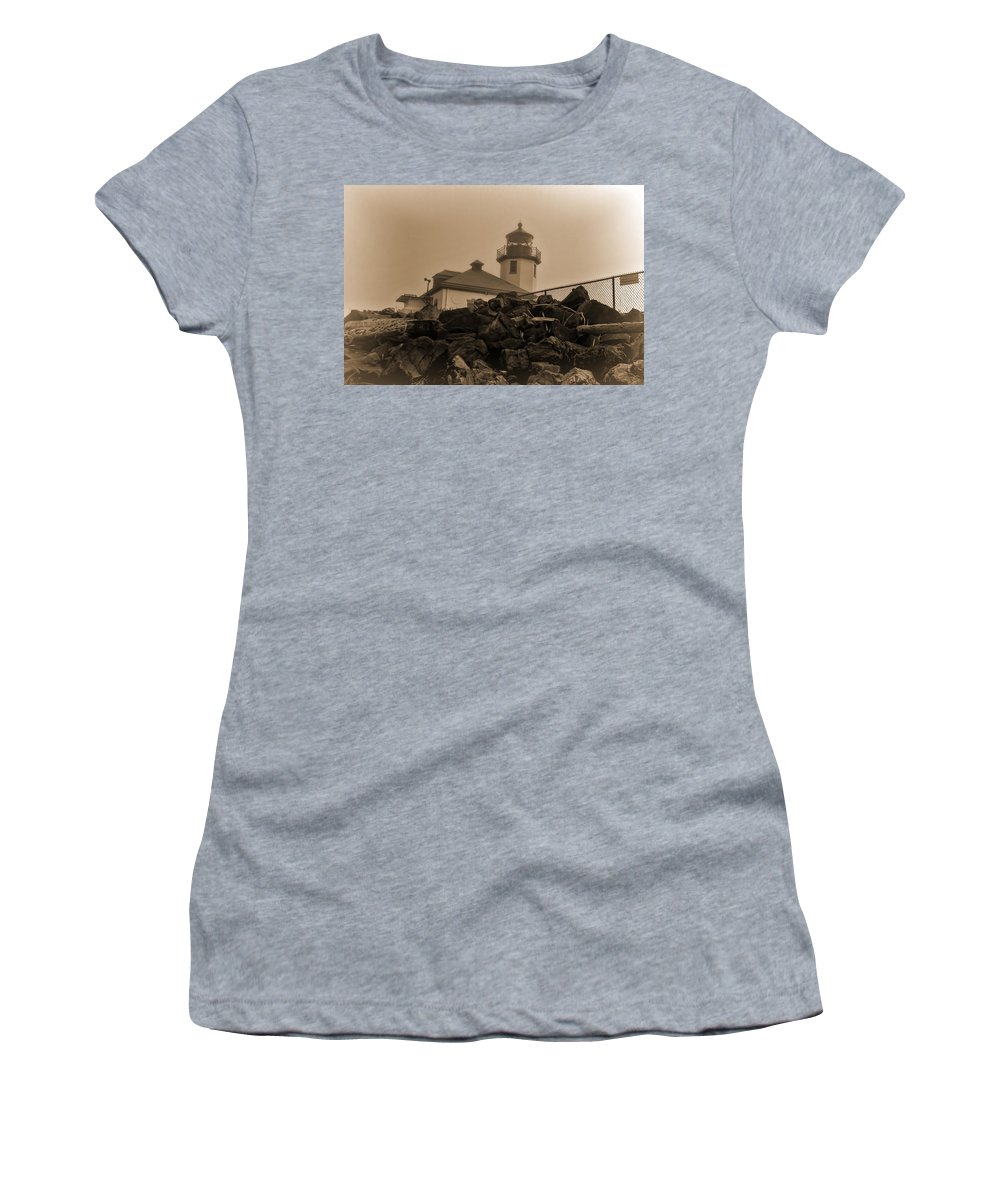 Alki Beach Women's T-Shirt featuring the photograph Alki Lighthouse by Cathy Anderson