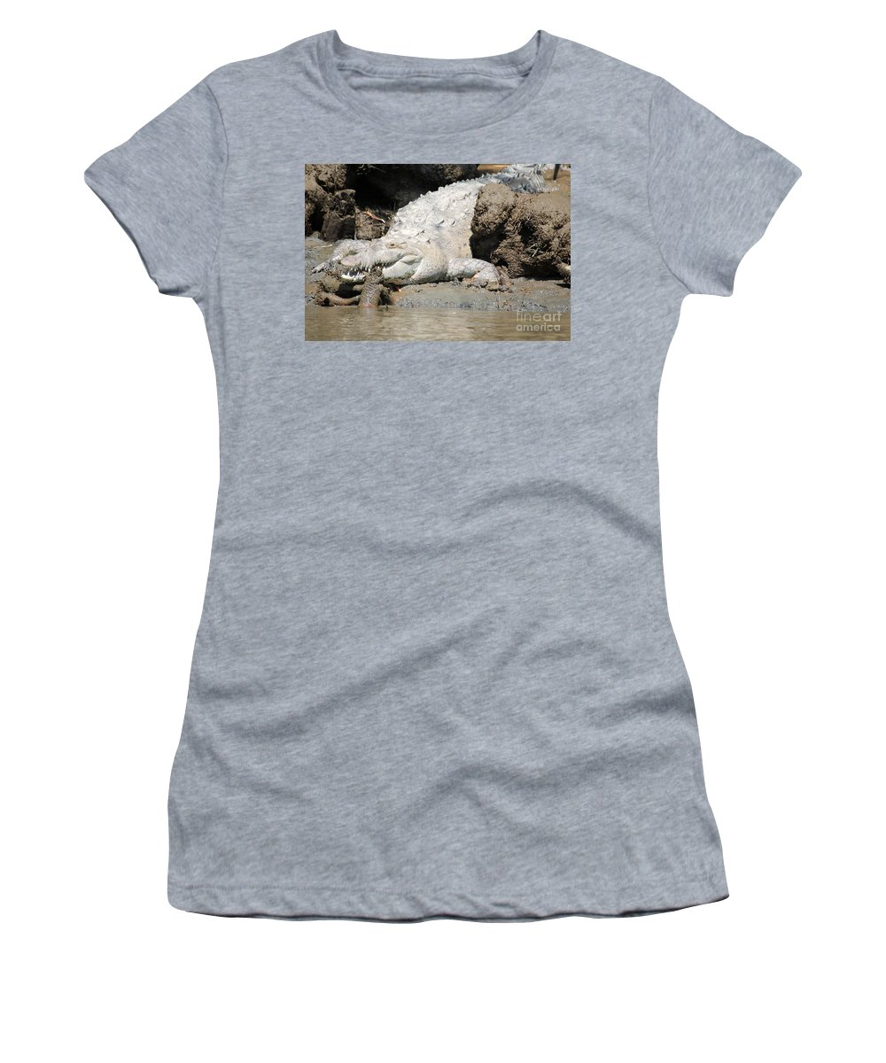 Wildlife Women's T-Shirt (Athletic Fit) featuring the photograph American Croc by Bob Hislop
