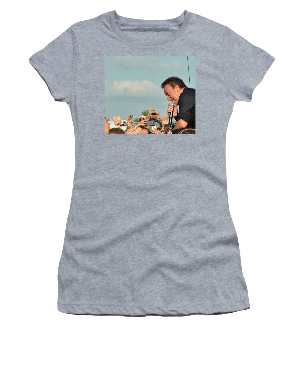 Bruce Springsteen Women's T-Shirt featuring the photograph Among The Crowd by William Morgan