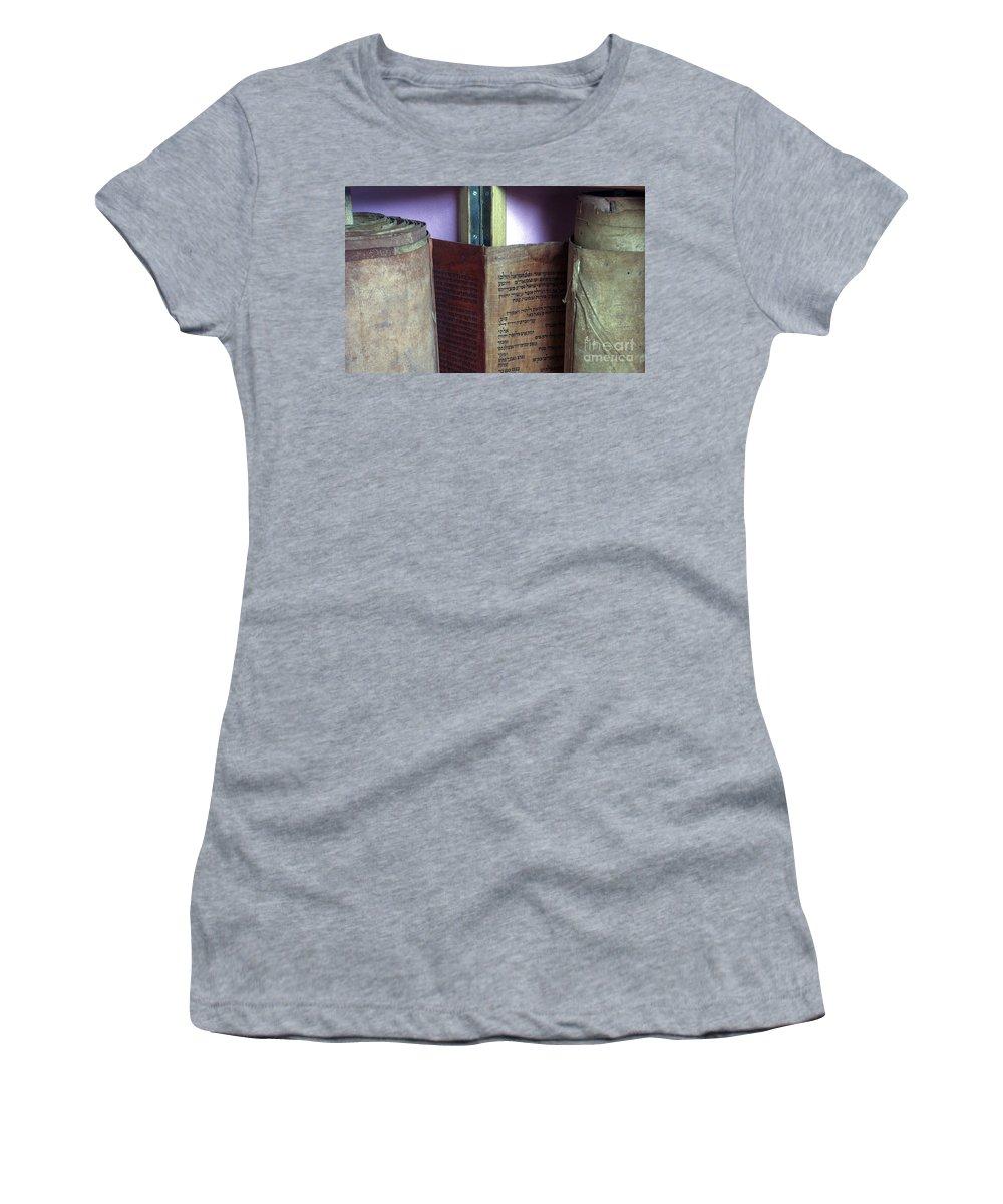Judaism Women's T-Shirt featuring the photograph Ancient Torah Scrolls From Yemen by Shay Fogelman
